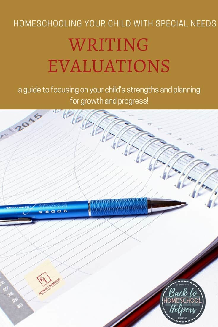 Homeschooling special needs. Writing evaluations