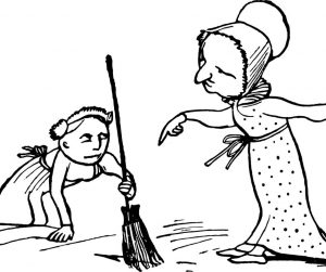 a cartoon with a child cleaning and a mom scolding illustrating it's so easy a child can do it